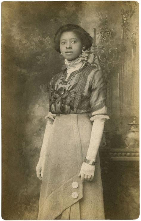 beautiful black edwardian lady rare old photo the