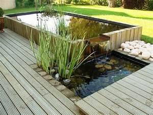 bassin integre dans une terrasse bois creation les With bassin de jardin bois