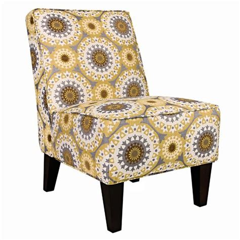 a yellow and grey print accent chair is easy to add into