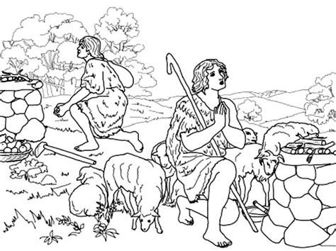 Kain En Abel Kleurplaat by Abel And Cain Sacrifice To God Coloring Page Coloring Sky