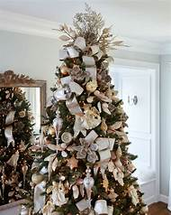 gold and silver christmas tree decorations - Silver Christmas Tree Decorating Ideas