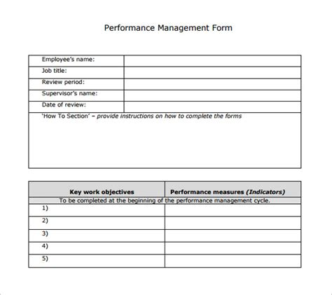 sample performance review template  documents