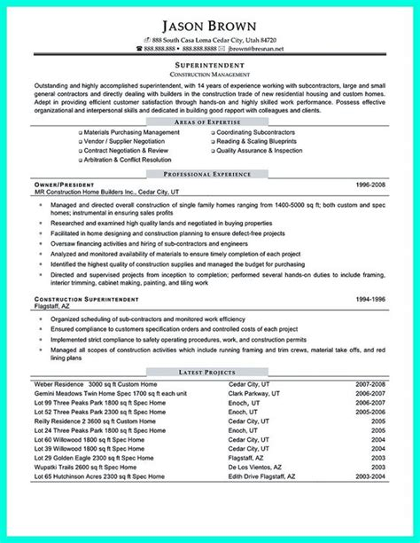 construction project manager resume accomplishments