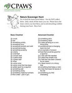 Nature Scavenger Hunt List