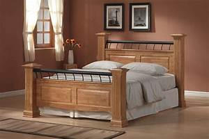 Clear Coating Oak Wood Bed Frame With Footboard And