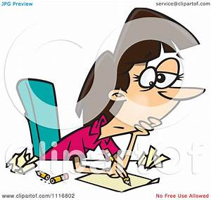 Cartoon Of An Author Woman With Writers Block - Royalty ...
