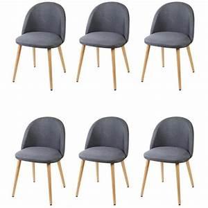 Chaise Tissu Salle A Manger : macaron lot de 6 chaises de salle manger tissu gris ~ Dallasstarsshop.com Idées de Décoration