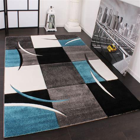 teppich designer designer teppich mit konturenschnitt karo muster türkis grau alle teppiche