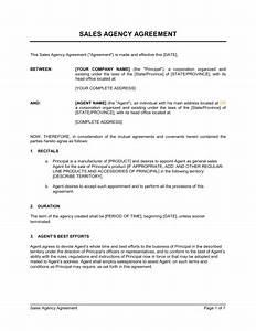 Sales Agency Agreement - Template & Sample Form   Biztree.com
