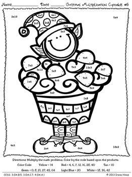multiplication christmas computation cupcakes math color   code puzzles