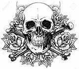 Skull Rose Roses Realistic Human Graphic Bones Detailed Coloring Gekruiste Menselijke Grafische Schedel Drawing Crossed Cranio Umano Skulls Adult Tattoo sketch template