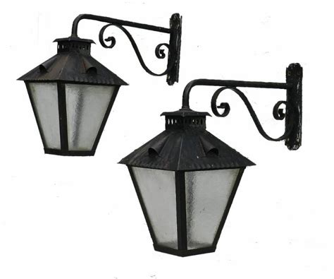 large pair of exterior wall lights wrought iron glass