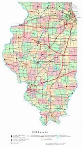 Large detailed administrative map of Illinois state with ...