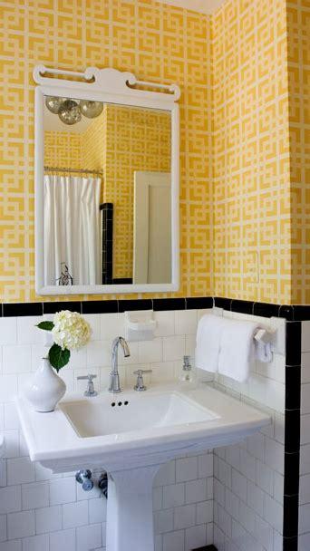 black white and yellow bathroom suzie angie hranowski white yellow vintage bathroom design with white subway tiles white