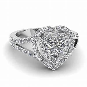 split shank heart diamond halo engagement ring in 14k With diamond heart wedding ring