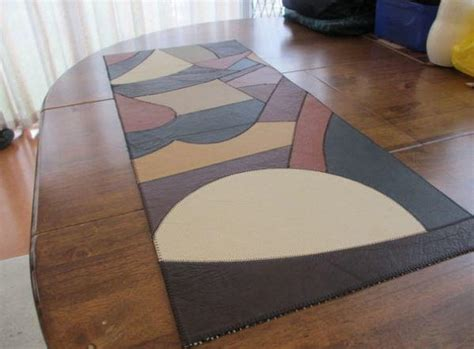 leather patchwork diy table runner diyideacentercom