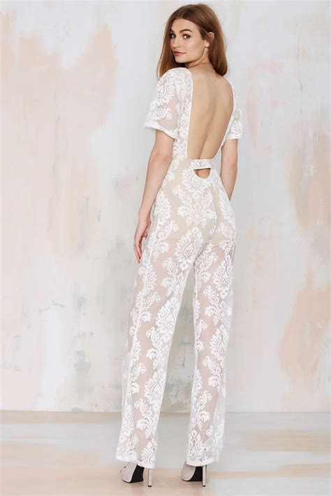 lace jumpsuit white gal one and only lace jumpsuit in white lyst