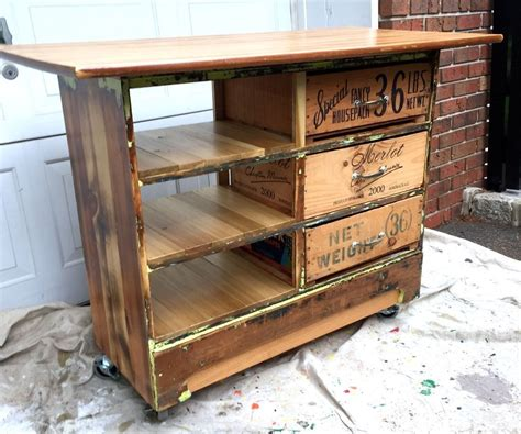 Rolling Kitchen Island Ideas - ugly dresser turned into rustic kitchen island cart 1