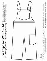 Overalls Coloring Engineer Pages Crayons Children Pair Colored Using Activities Markers Pencils Print Craft Engineering Museum Patchwork January Copy Quiltstudy sketch template