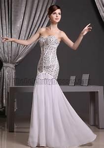 She Made Me Size Chart White Beaded Strapless Sweetheart Mermaid Formal Dress