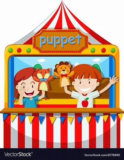 Puppet Stage Children Perform Vector