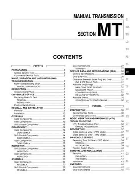 2002 Nissan Xterra - Manual Transmission (Section MT