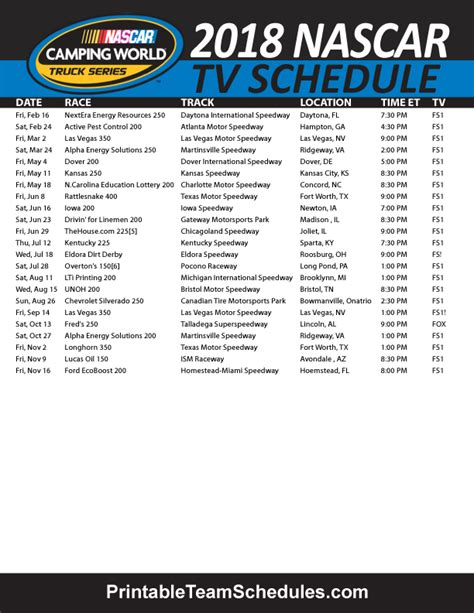 Monster Energy Nascar 2019 Schedule Printable Onlyonesearch Results