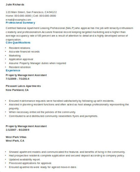 sle property management resume 8 exles in word pdf