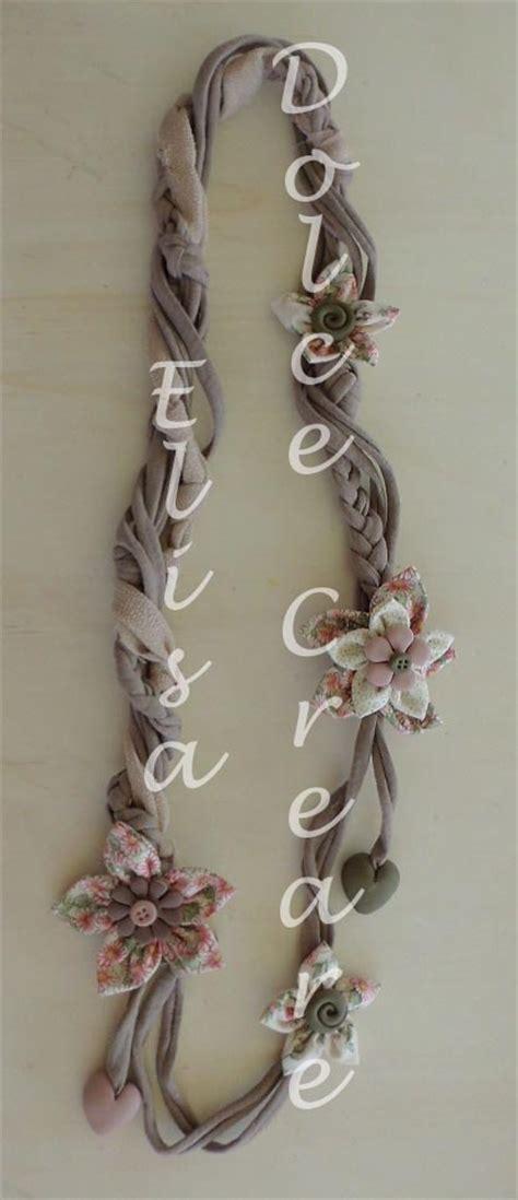 pasta di mais fiori collana in fettuccia con fiori di stoffa e quot pietre