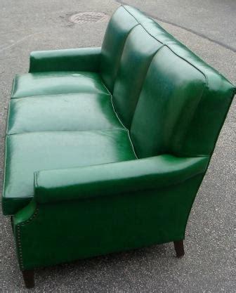 nicole wood interiors sold vintage green vinyl sofa
