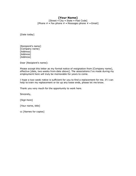 weeks notice letter tamplate  part time job