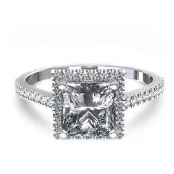 princess cut halo engagement rings stylish halo princess cut engagement ring in 14k white gold canada