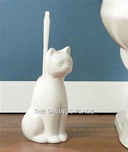 whimsical classic white ceramic dog or cat bathroom toilet With cat bathroom set