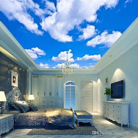 blue sky white cloud wallpaper mural living room bedroom