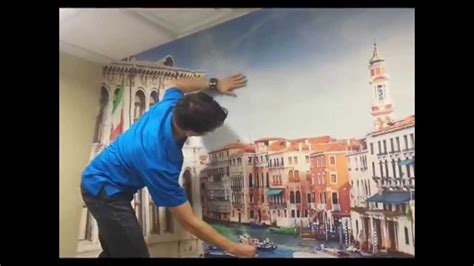 install  peel  stick wall mural youtube