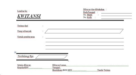 Contoh Kuitansi by Contoh Format Kwitansi Manual Bos Bentuk Ms Word