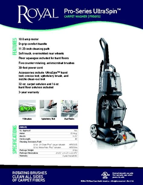 Royal FR50152 Pro Series UltraSpin Carpet Cleaner, Dual