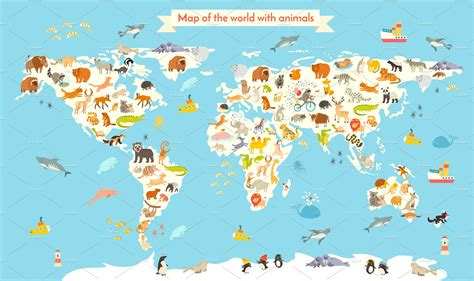 Animal World Map Wallpaper - animals world map illustrations creative market