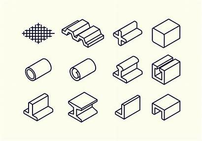 Steel Material Icon Vector Beam Rebar Icons