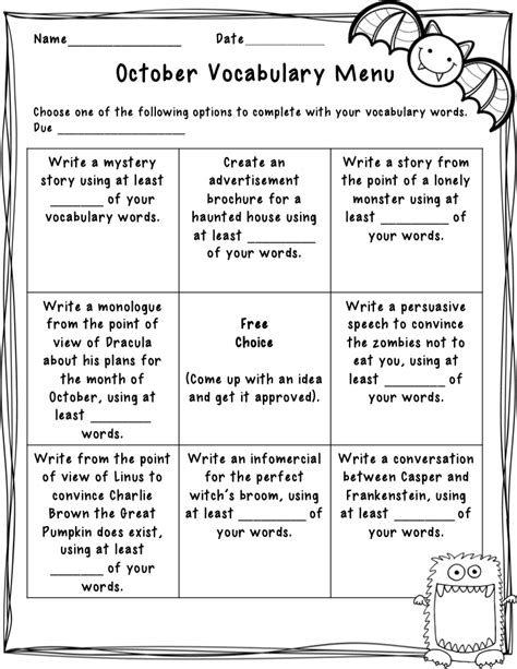 the idea backpack october spelling and vocabulary menu 919   Slide3