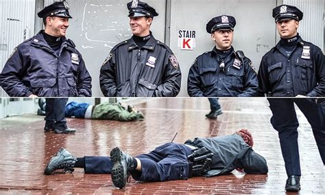 nypd cops smile  picture snapped seconds  horrific