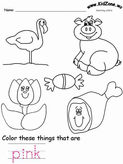 Pink Coloring Worksheets Colors Preschool Worksheet Activities