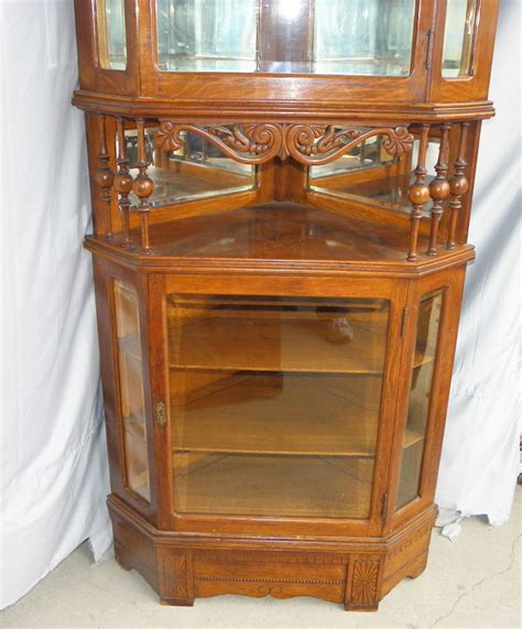 antique oak corner china cabinet bargain s antiques antique oak corner china or 7482