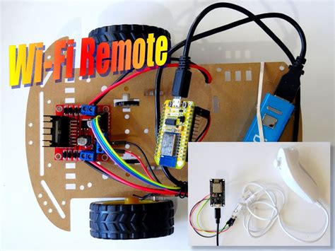 esp8266 and wii nunchuck wifi remote car robot
