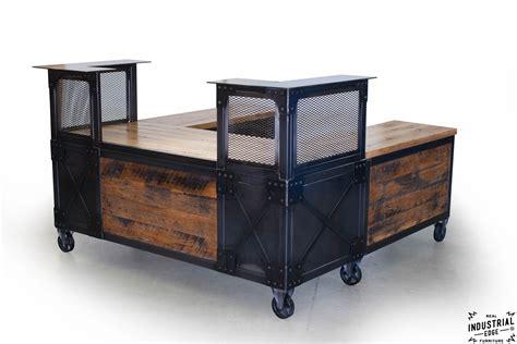 wood and steel desk reclaimed wood steel reception desk real industrial