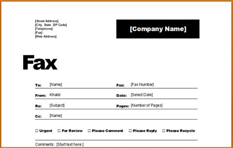 fax cover sheet word template authorizationlettersorg