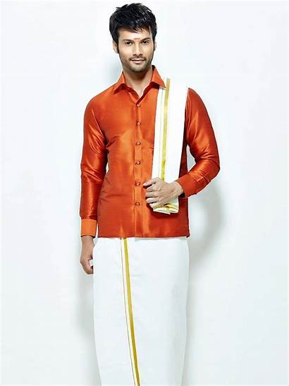 Indian Orange Silk Wear Dhoti South Shirt