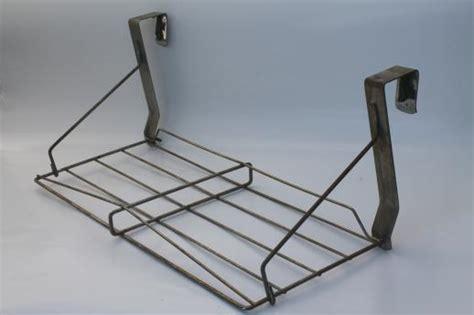 vintage industrial wire rack hat shelf   door