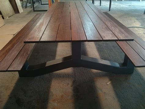 outdoor modern industrial style ipe picnic table