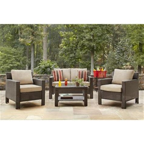 home depot patio cushion set hton bay beverly 4 patio seating set with